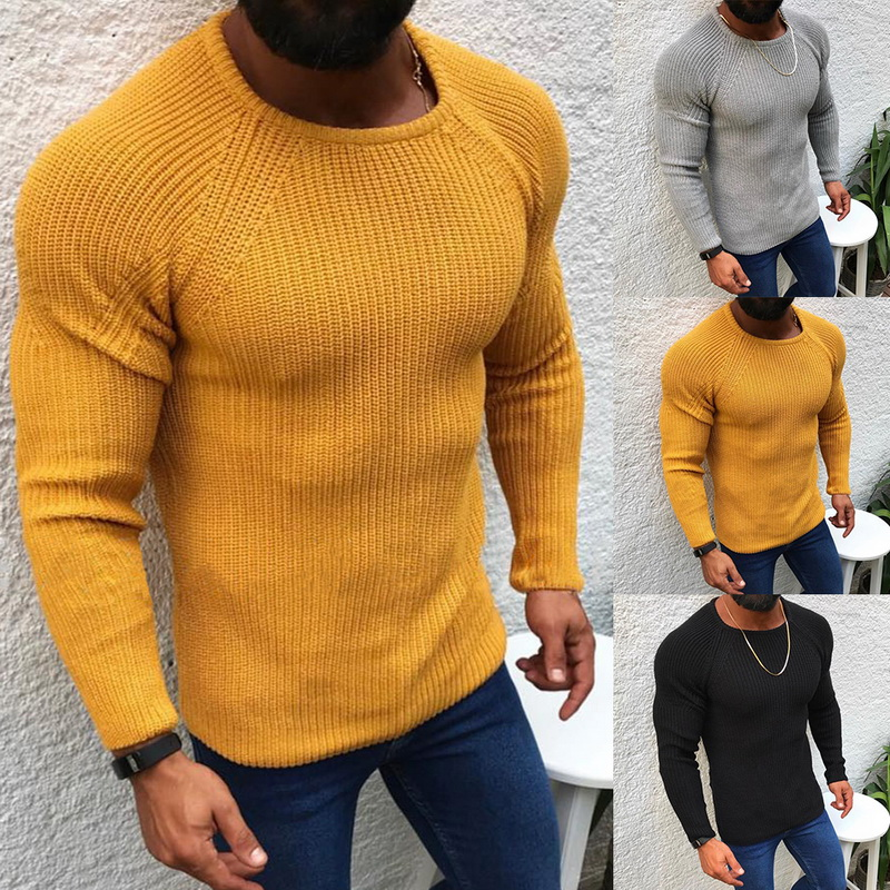 Mens Fashion Autumn And Winter Warm Knitted Pullovers Male Solid Color O-neck Long Sleeves Slim Fit Casual Sweater 2019 New