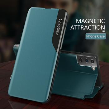 Skórzane magnetyczne inteligentne etui do Samsung Galaxy Note 20 Ultra S20 Plus S10 Lite S 10 S8 S9 uwaga 8 9 S20FE stojak telefon pokrywa Coque tanie i dobre opinie FEGENGYUOYUN CN (pochodzenie) Etui z klapką new leather Magnetic smart view book case Zwykły