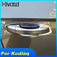 Hivotd For Skoda Kodiaq Car Door Handle Cover + Bowls Trim ABS protection Decoration Exterior Chromium Styling 2017 2018 2019 for skoda kodiaq 2017 2018 abs steering wheel cover trim decoration interior car styling accessory