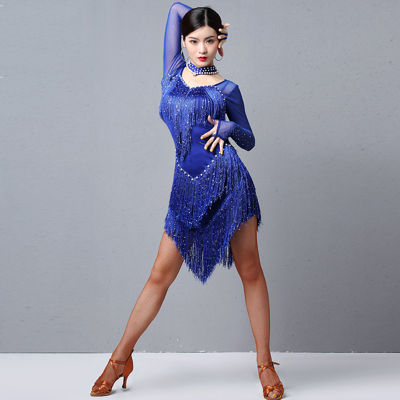 Latin Dance Dresses Professional Latin Dance Competition Performance Costume Female Long Sleeve Sequin Fringe Dress DQL2471