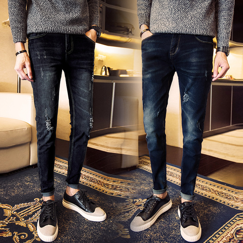 Summer Thin Section Elasticity Men With Holes Jeans Capri Korean-style Trend Slim Fit Pants Versatile Harem Pants Sub-Men's