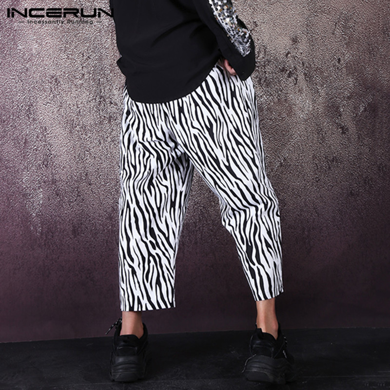2020 Personality Joggers Men Pants Printed Baggy Casual Pantalon Chic Fashion Elastic Waist Streetwear Men Trousers INCERUN 5XL
