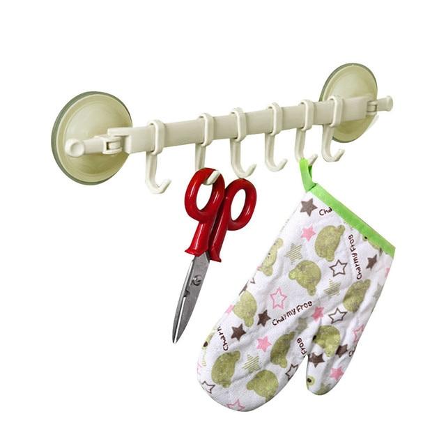 Wall Vacuum Rack Suction Cup 6 Hooks Towel Bathroom Kitchen Holder Sucker Hanger For Kitchen Bathroom15 5