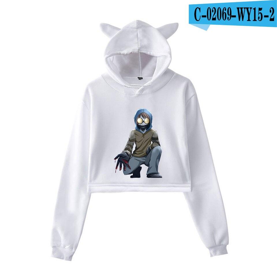 unique horror atmosphere of black humor creepypasta  print fashion trend Cat ears Top Women Hoodies Sweatshirt Sexy clothes 27