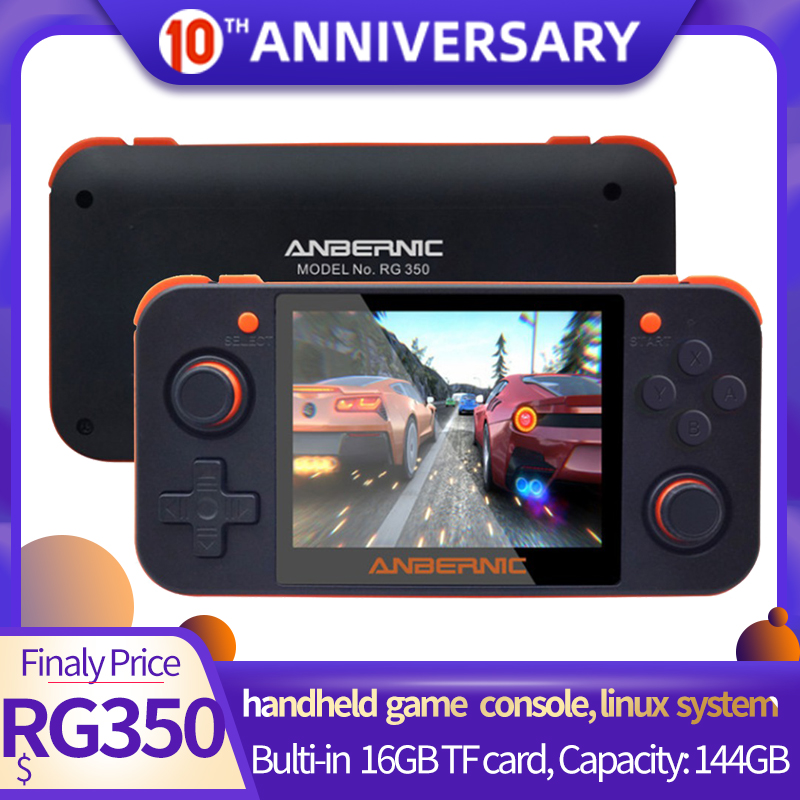 3.5 inch IPS Screen RG350 handheld Game Console Linux System 20000+Games in 16GB/144GB Card 16 Emulators RG 350 Game Player image