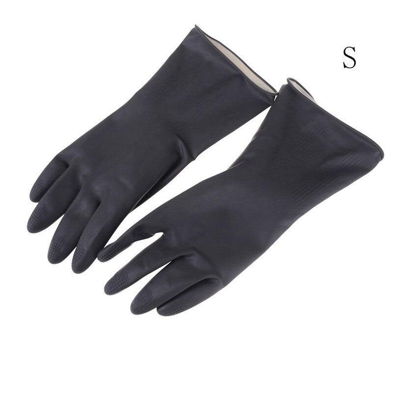 1 Pair Black Natural Rubber Gloves Acid Alkali Resistant Chemical Gauntlet FG