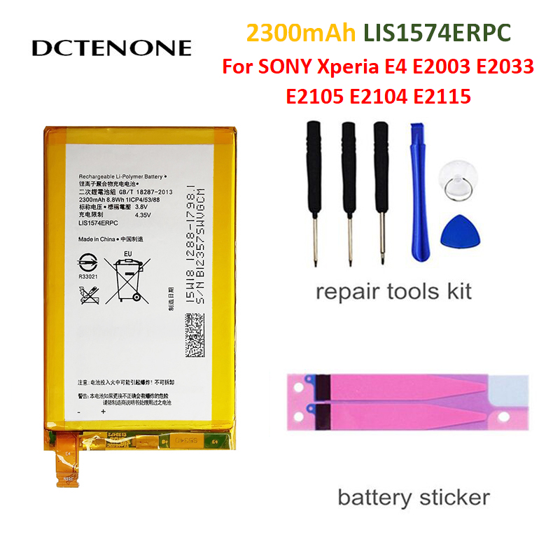 DCTENONE Replacement phone <font><b>Battery</b></font> For <font><b>SONY</b></font> <font><b>Xperia</b></font> <font><b>E4</b></font> E2003 E2033 <font><b>E2105</b></font> E2104 E2115 LIS1574ERPC Genuine Phone <font><b>Battery</b></font> 2300mAh image