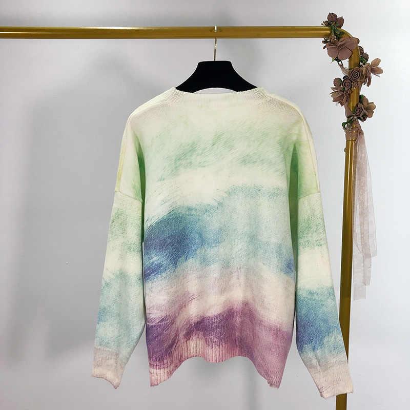 Осень 2019 и зима новый Радужный градиент с длинными рукавами v-образным вырезом вязаный женский свитер