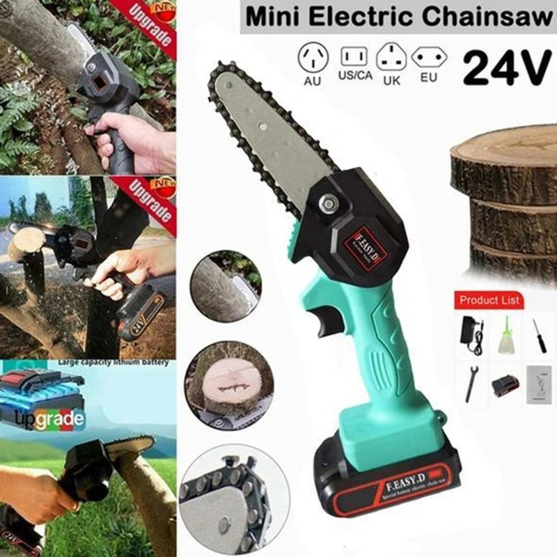 Rechargeable Mini One-Hand Saw Woodworking Electric Chain Saw Wood Cutter 24V d