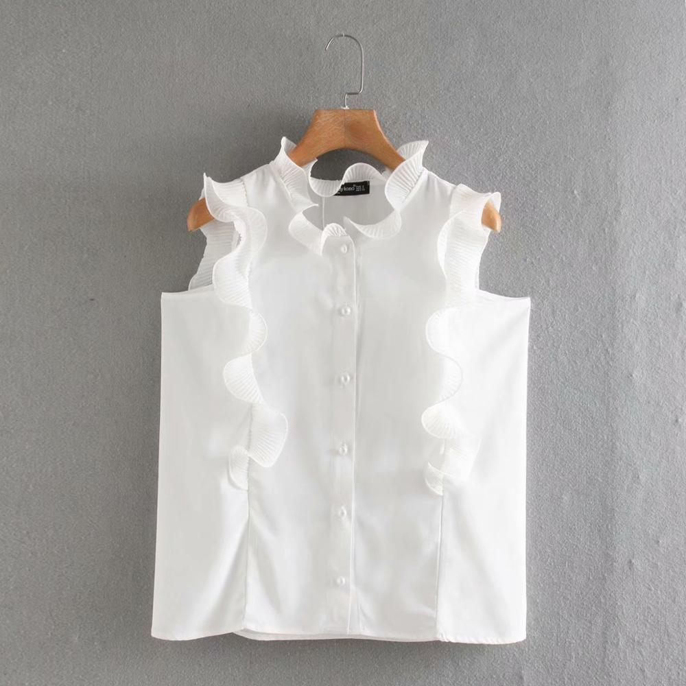 New Women Ruffles Decoration Sleeveless Casual Chiffon Blouse Female Pearl Buttons White Shirts Leisure Chic Chemise Tops LS6551
