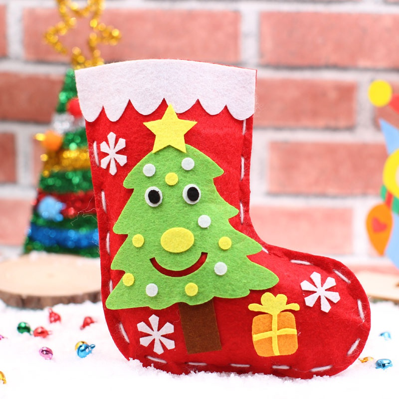 Baby Toys Christmas Holiday DIY Stockings Christmas Hanging Bags Red Handmade Socks Decorations Christmas DIY Socks Kit