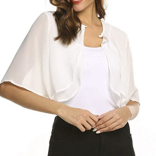 Womens Fashion Half Sleeve Layered Open Front Loose Sheer Bolero Chiffon Shrug Cardigan Top For Wedding Party Dress Cover Up 1