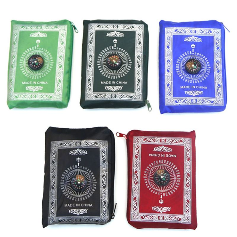 Portable Waterproof Muslim Prayer Mat Rug With Compass Vintage 