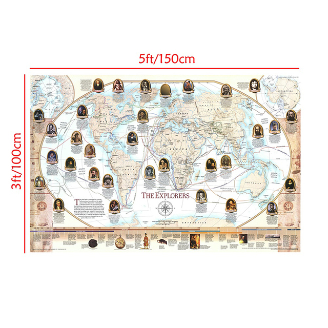 150x100cm Retro World Map World Famous Navigator and Explorer Navigation Map Non woven World Map By