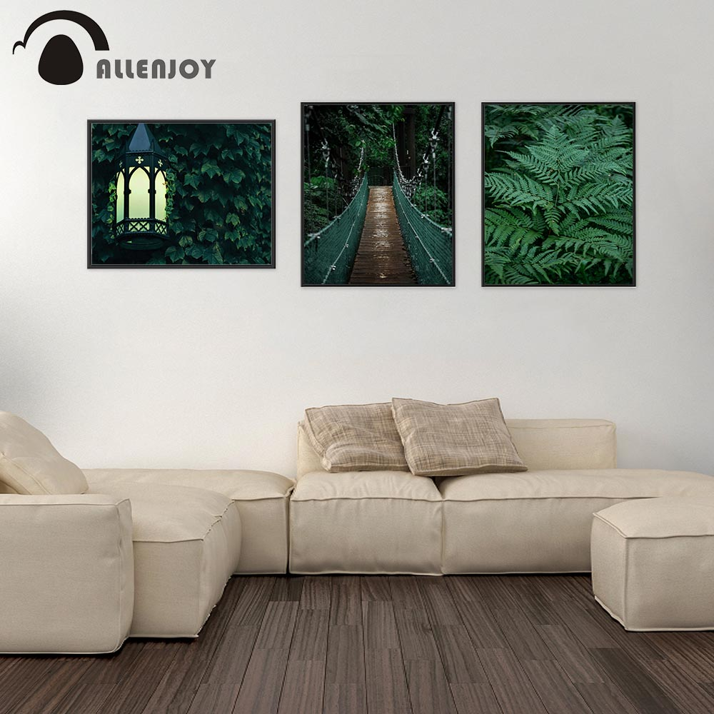 Allenjoy Tropical Pictures Green Jungle Leaves Street Lights Hanging Wooden Bridge Posters Botanical Living Room Canvas Wall Art in Painting Calligraphy from Home Garden