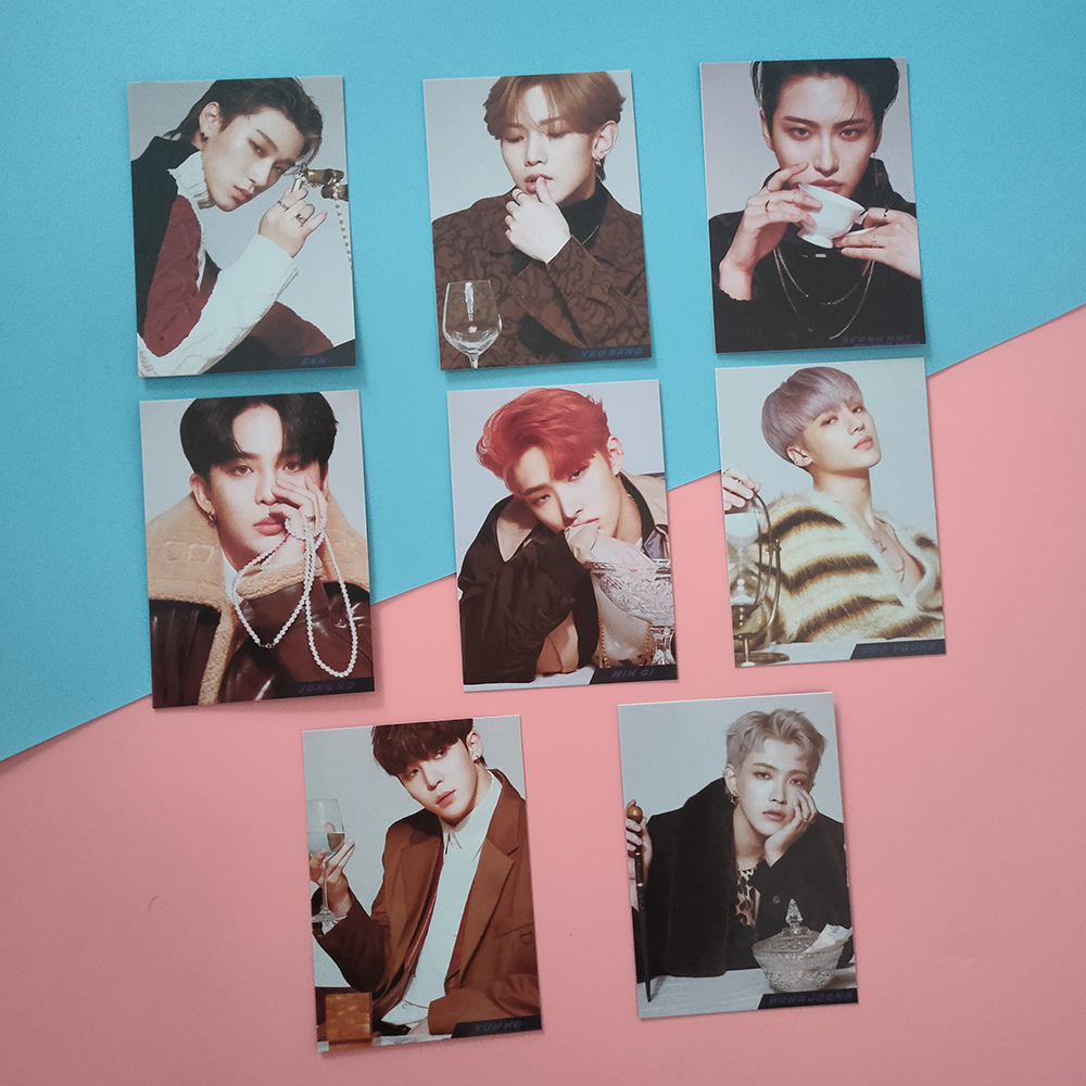 8pcs/set Kpop ATEEZ Photocard New Album ANSWER LOMO Card YEO SANG SAN Double Print High Quality Photo Card New Arrivals