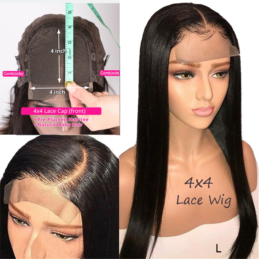 Indian Hair 4x4 Lace Closure Wig Remy Straight Top Human Hair Toppers Extensions Sew In PrePlucked With Baby Hair Low Ratio 150%