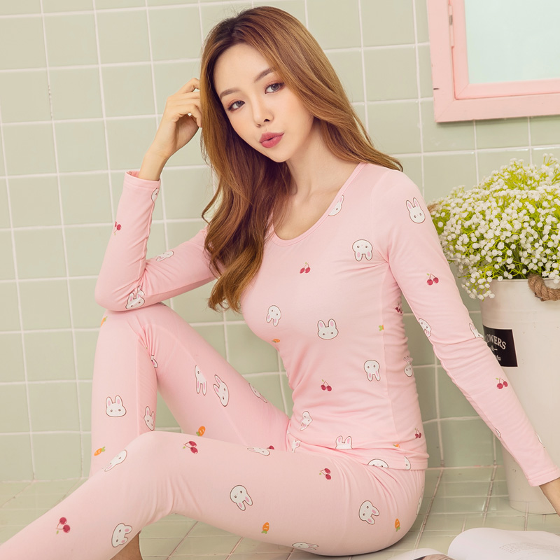 2019 Print Thermal Underwear Women Slim Shaping Long Johns Autumn Winter Thermal Set Boss Warm Clothes For Women