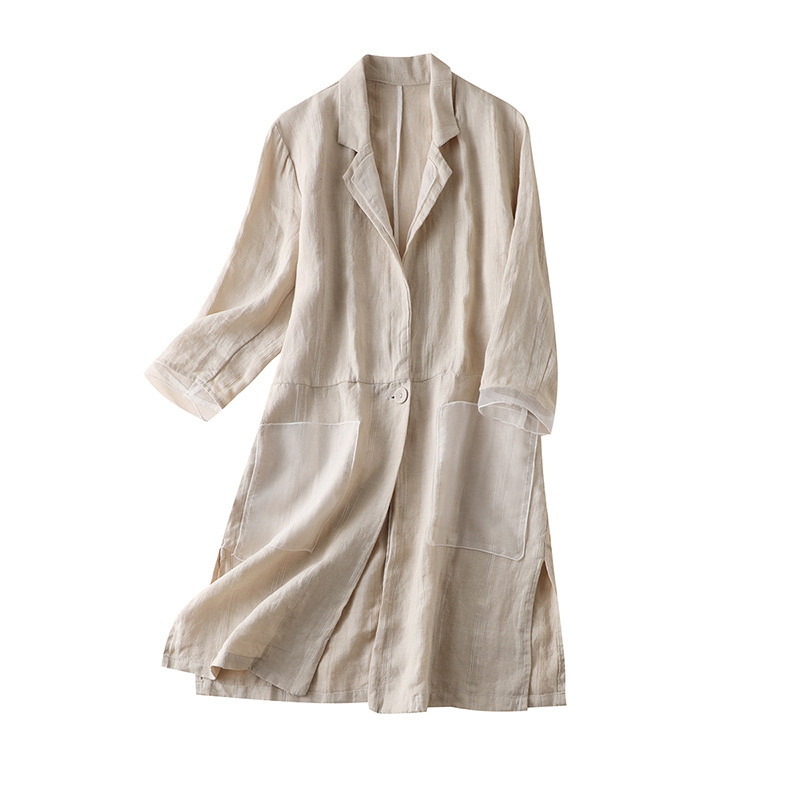 summer linen patchwok Organza long coats and jackets women 2020 Turn-down Collar Single Button Pockets Casual Wide-waisted