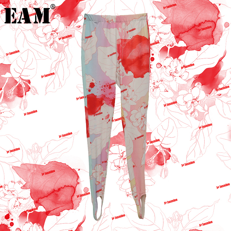 [EAM] High Elastic Waist Pattern Print High Elastic Trousers New Loose Fit Pants Women Fashion Tide Spring Autumn 2020 1N314