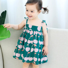 цена на Dress for Girls Baby Infant Girl Kids Sleeveless Litchi Printed Straps Princess Dress Clothes