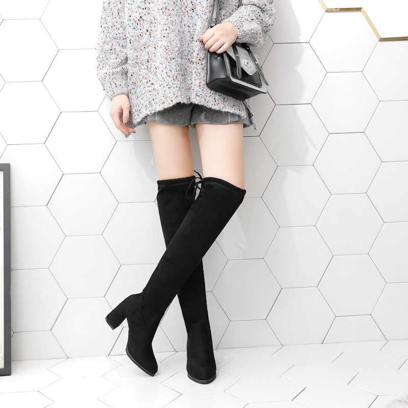WENYUJH 2019 סתיו נשים מגפיים שחור מעל הברך מגפיים סקסי נשי סתיו חורף ליידי ירך גבוהה מגפי נעליים יומיומיות 35 -40