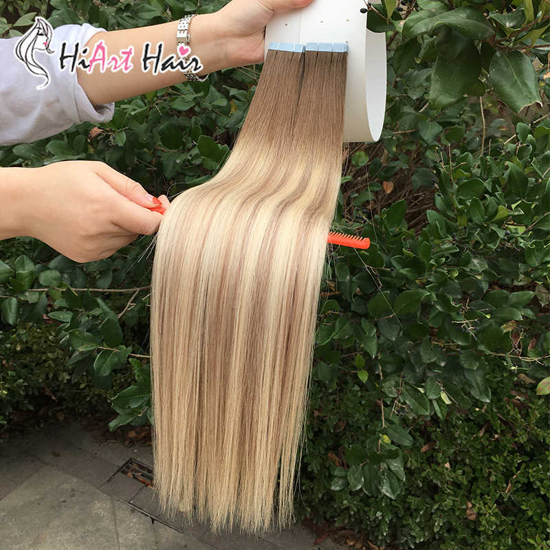 HiArt 2.5g/pc Tape In Human Hair Extensions 100% Real Human Remy Hair 2020 Balayage Double Drawn Tape Human Hair Seamless