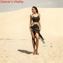 Women Latin Dance Adult Milk Fiber Bandage Design Tassel Skirt Rumba Samba Foxtr