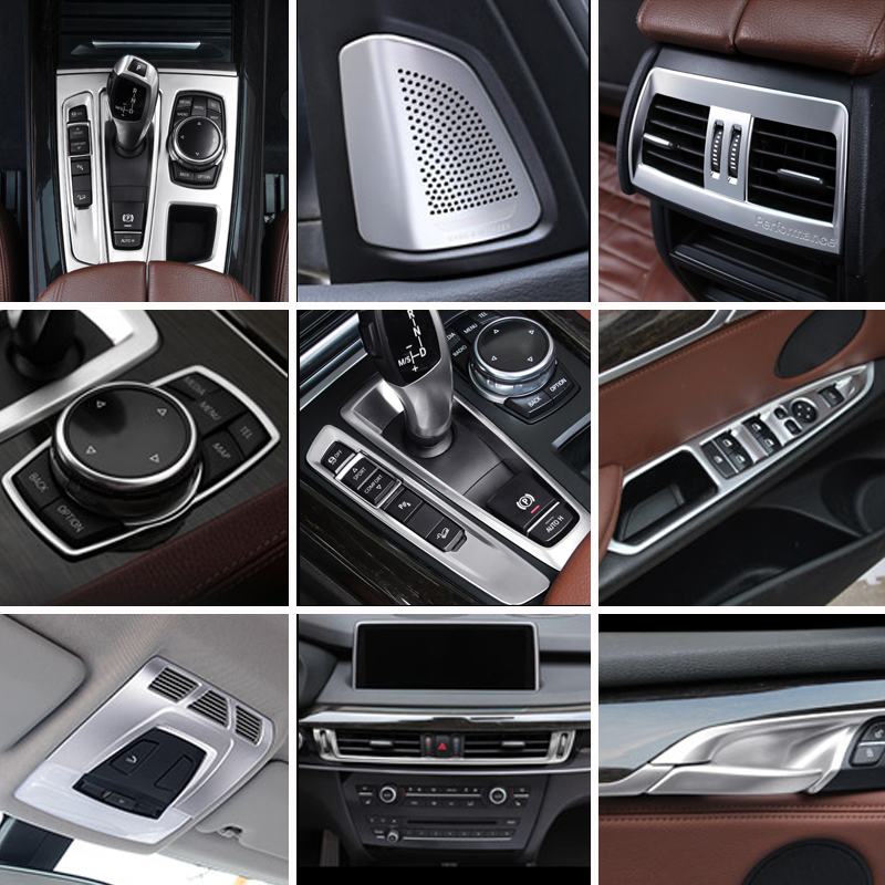 Accessories For BMW X5 X6 F15 F16 Car Inner Gearshift Air Conditioning CD Panel Door Armrest Cover Trim Decorative Car Stickers