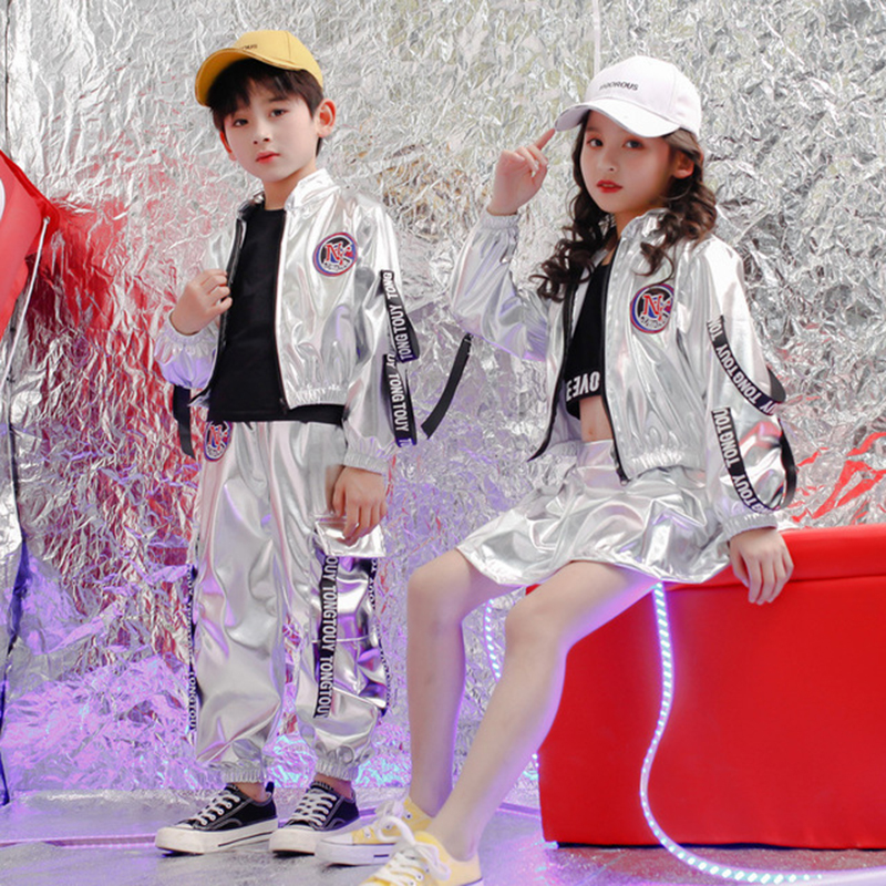 Boys Street Dance Clothing Neon Clothes Silver Girls Hip Hop Dance Costumes Dance Street Jacket Hip Hop Dance Pants Skirt