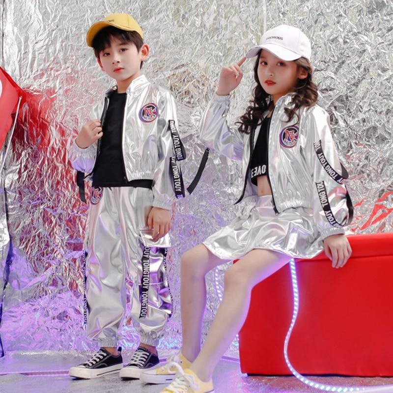 Boys Street Dance Clothing Neon Clothes Silver Girls Hip Hop Dance Costumes Dance Street Jacket Hip Hop Dance Pants Skirt