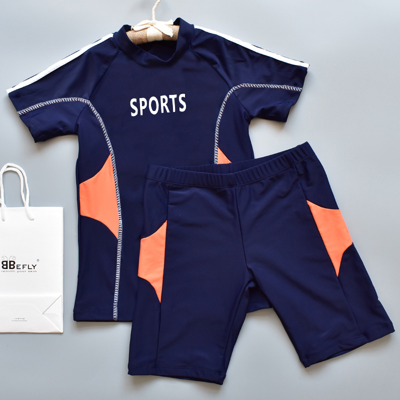 2019 Europe And America New Style Hot Sales KID'S Swimwear Split Type Short Sleeve Shorts Athletic Ultra-stretch Quick-Dry BOY'S