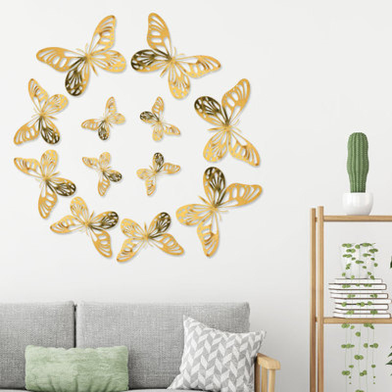 12 Pcs/Set Wall Stickers Kids DIY Fridge Butterfly stickers Room Decoration Home Wall decals Bedroom Decor Wall Stickers
