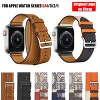 Correa de piel auténtica para Apple Watch Series 6, 5, 4, 3, 2, 1 SE, correa de doble una sola vuelta, 44mm, 40mm, 42mm y 38mm