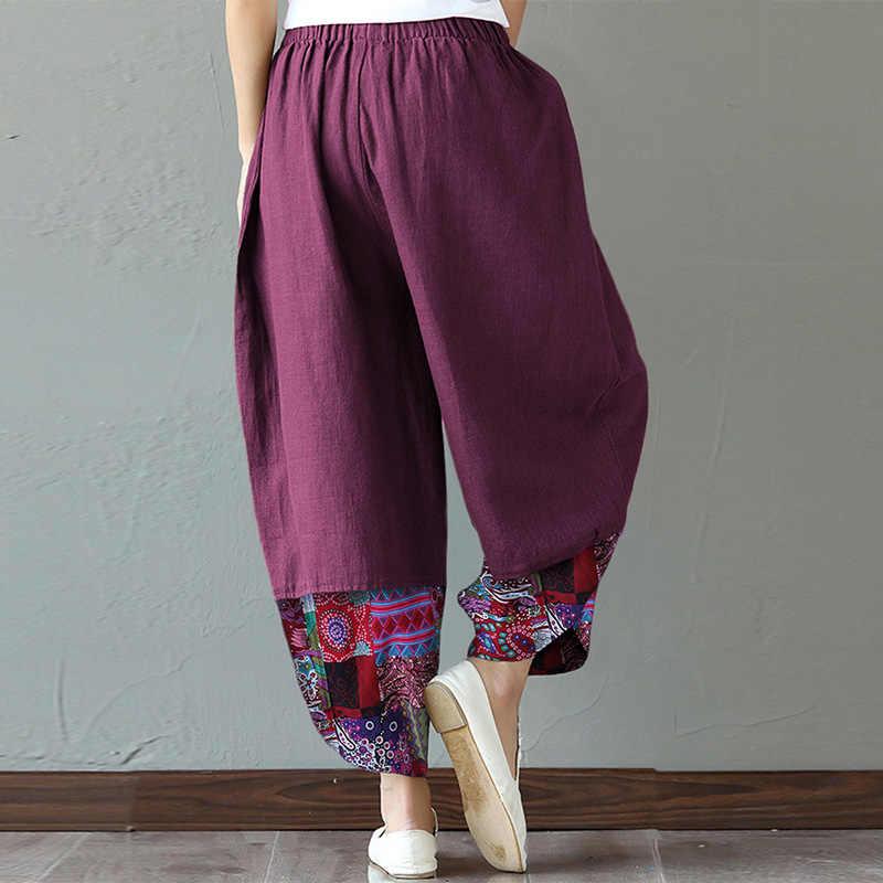 Vintage geniş bacak pantolon kadın Patchwork pantolon ZANZEA 2020 Casual baskılı uzun Pantalon Palazzo kadın yaz şalgam S-5XL