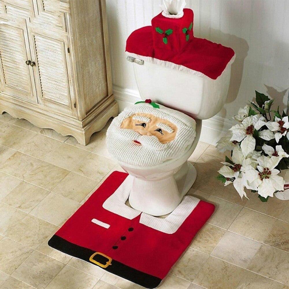 3pcs Fancy Santa Claus Rug Seat Bathroom Set Contour Rug Christmas Decoration Navidad Xmas Party Supplies New Year