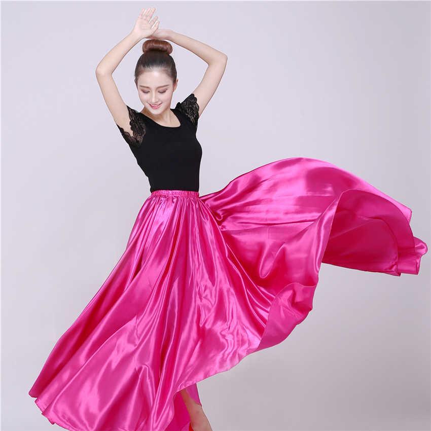 10 色フラメンコスカート女性のためのスペイン舞踊ジプシーベリーコーラス大人固体ステージパフォーマンス女性闘牛スペインドレス