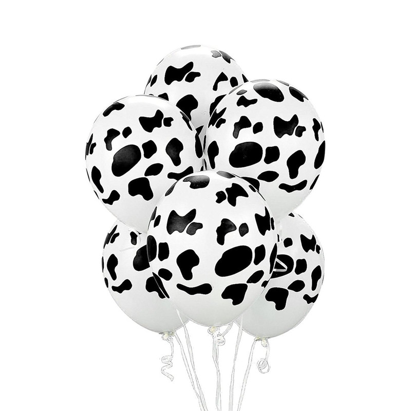 30pcs 12inch Cow Print Latex Balloon For Baby Shower Bridal Shower Farm theme <font><b>8th</b></font> <font><b>Birthday</b></font> Party Decorations Ballon Supplies image