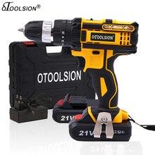 Otoolsion 21v 18 + 3 torque impacto sem fio chave de fenda furadeira sem fio ferramentas elétricas furadeira elétrica furadeira furadeira elétrica