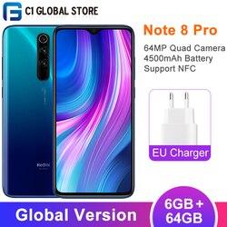 Versão global xiaomi redmi nota 8 pro 6gb 64gb smartphone mtk helio g90t octa núcleo 64mp quad câmera 6.53 fftela fhd 4500mah