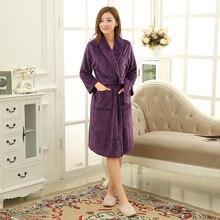Women Men Soft Warm Coral Fleece Long Bathrobe Winter Kimono Flannel Bath Robe N