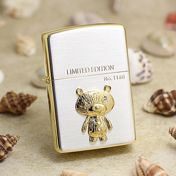 Genuine Zippo oil lighter copper windproof Golden Bear cigarette Kerosene lighters Gift With anti-counterfeiting code