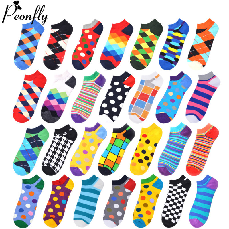 PEONFLY Harajuku Men's Ankle Socks Colorful Geometry Plaid Striped Printed Boat Socks Spring Summer Casual Hip Hop Calcetines