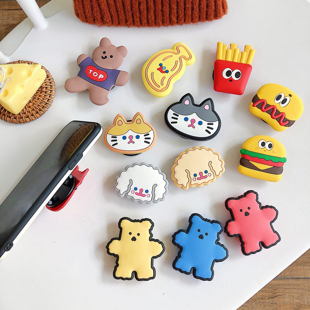 INS Korea Cartoon Bear Cat Funny Food Universal Mobile Phone Ring Holder Fold Stand Bracket For iPhone 11 Samsung Huawei Xiaomi
