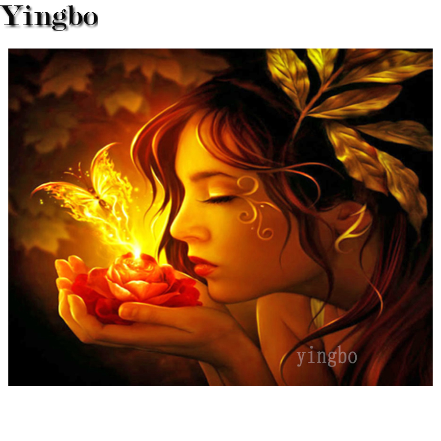 5D Full Square Round Drill DIY Diamond Embroidery Elf Girl Flame Butterfly Diamond Painting Cross Stitch Mosaic Home Decorations