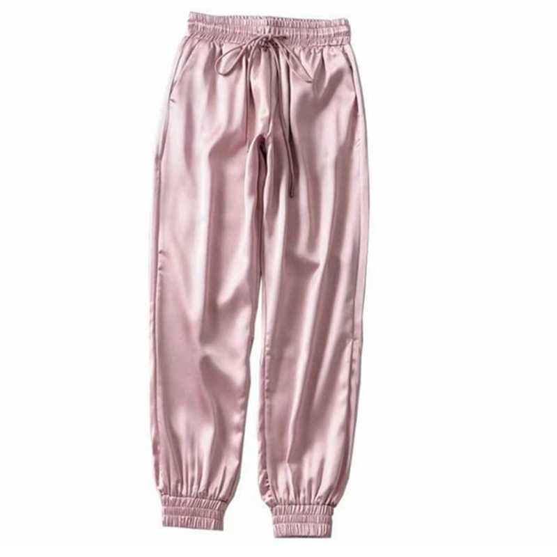 קיץ סאטן מכנסיים מטען נשים אירופה Loose מקרית ספורט נשים רצים מכנסיים מטען Streetwear נשים