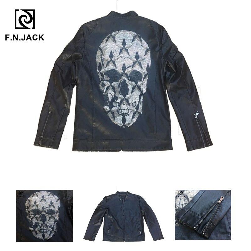 F.N.JACK Cool Rhinestone Skull Pattern Winter Coat Male Casual Jacket 2019 Fashion Men's Motorcycle Faux Leather Jackets