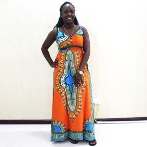 Image 1 - Dashikiage talia przód z rozporkiem sukienka na cienkich ramiączkach elegancka dopasowana, w kwiaty drukuj bez rękawów sukienka jesień nowoczesne Lady kobiety sukienek
