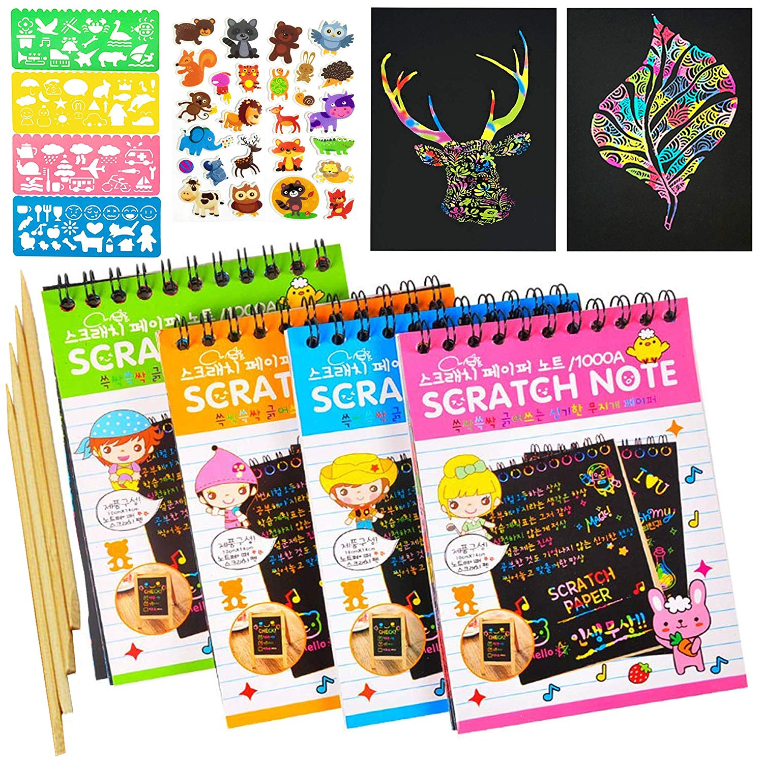 10*14cm Scratch Note Children's Creative DIY Color Rainbow Scratch Paper Book DIY Painting Colorful Graffiti Notebook Creative