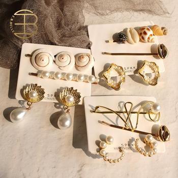 2020 letni styl oceanu naturalny ślimak szyszka imitacja perły betonowa biżuteria do włosów powłoki spinki i zestaw kolczyków dla pani